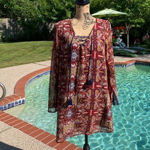 Love, Fire Boho Tunic Dress, L